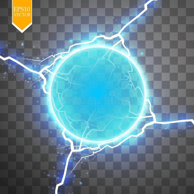 Blauwe energiering met bliksemsamenvatting conceptueel vectorontwerp met vrij gebied in centrum voor om het even welk voorwerp royalty-vrije illustratie