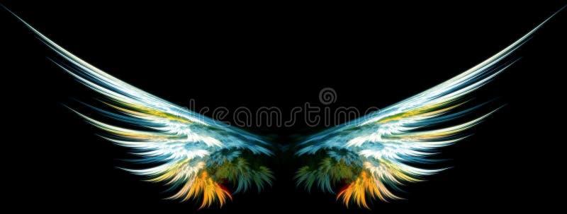 Blauwe engelenvleugels vector illustratie