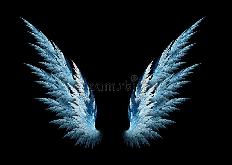 Blauwe engelenvleugels stock illustratie