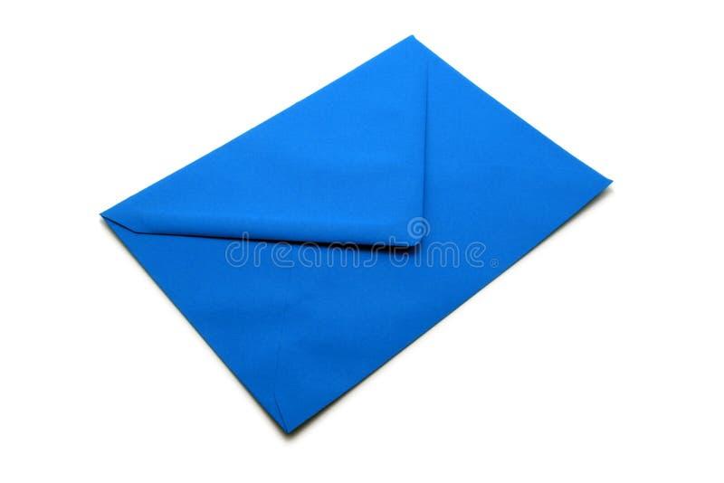 Blauwe envelop stock afbeelding