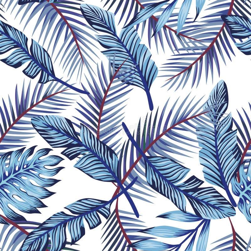 Blauwe exotische bladeren naadloze witte achtergrond stock illustratie