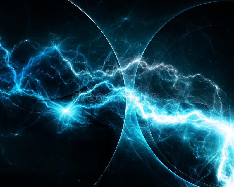 Blauwe fantasiefractal bliksem vector illustratie