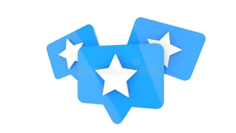 Blauwe favoriete sterpictogrammen op witte achtergrond, het 3d teruggeven stock illustratie