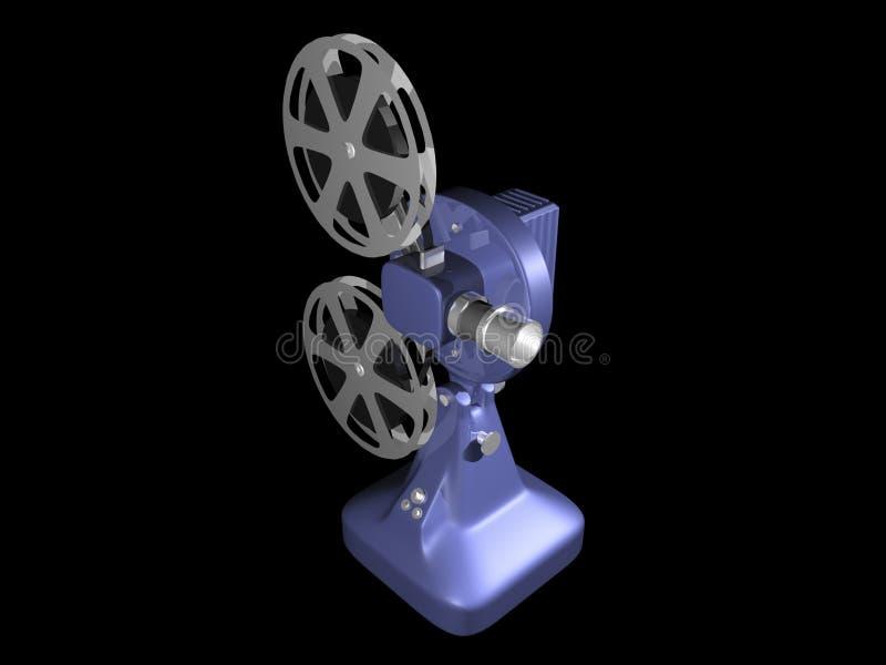 Blauwe filmprojector royalty-vrije illustratie