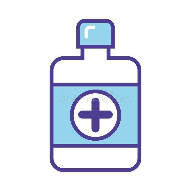 Blauwe fles met de vectorillustratie van het pillenpictogram die op witte achtergrond wordt geïsoleerd Medisch pictogram stock illustratie