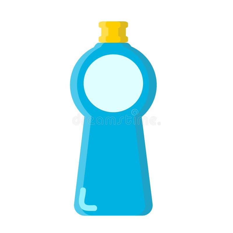 Blauwe fles met vloeibare reinigingsmachine in vlakke stijl op wit, voorraad vectorillustratie royalty-vrije illustratie