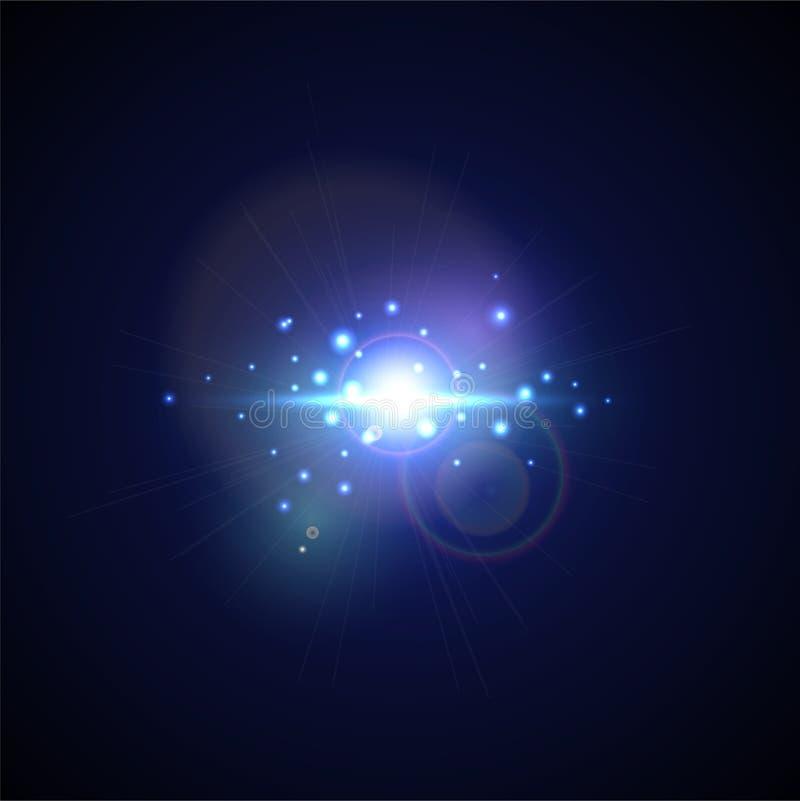 Blauwe Flits met stralen en schijnwerper Realistische lichte glans, hoge afkerig, stergloed Het effect van de lensgloed op zwarte stock illustratie