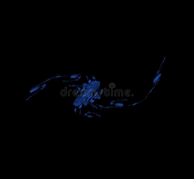 Blauwe fractal op zwarte achtergrond Digitaal art het 3d teruggeven Computer geproduceerd beeld vector illustratie