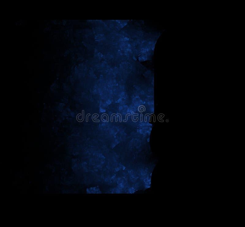Blauwe fractal textuur op zwarte achtergrond Digitaal art het 3d teruggeven Computer geproduceerd beeld vector illustratie