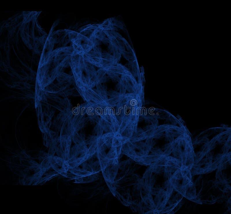 Blauwe fractal textuur op zwarte achtergrond Digitaal art het 3d teruggeven Computer geproduceerd beeld stock illustratie