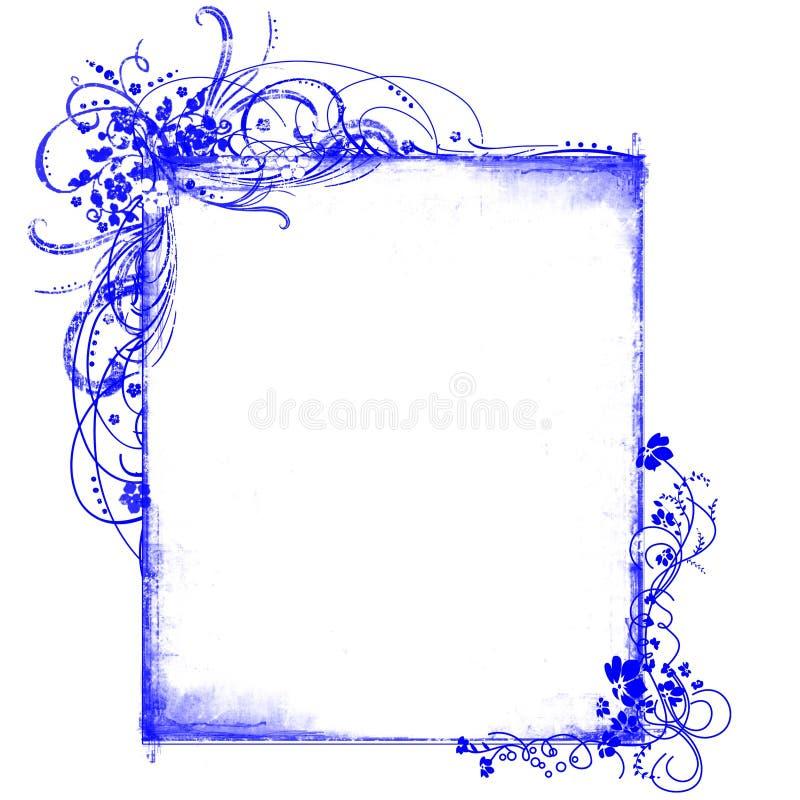 Blauwe frame bloemenpatronen vector illustratie