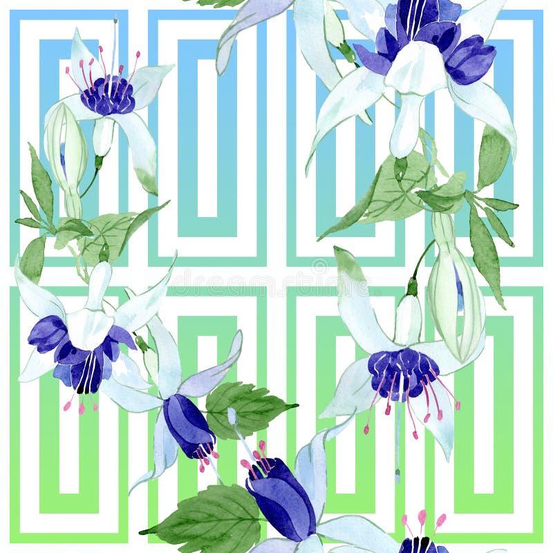 Blauwe fuchsiakleurig bloemen botanische bloemen Waterverf achtergrondillustratiereeks Naadloos patroon als achtergrond stock illustratie