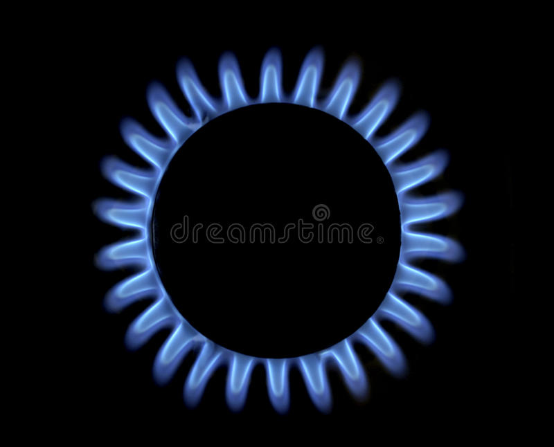 Blauwe gasvlam royalty-vrije stock afbeelding