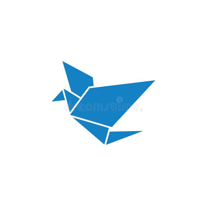 Blauwe geïsoleerde de ontwerpsjabloonvector van het vogel polypictogram stock foto's