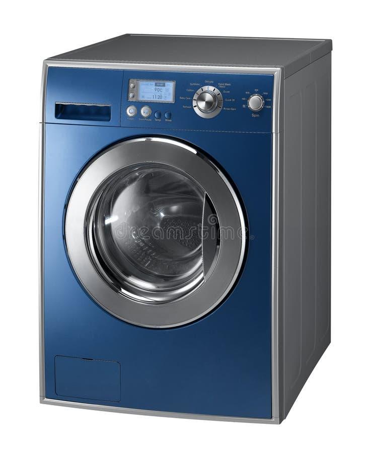 Blauwe Geïsoleerde wasmachine stock afbeelding