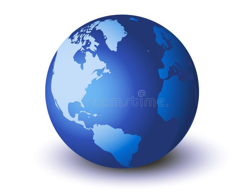 Blauwe geïsoleerdet wereld royalty-vrije illustratie