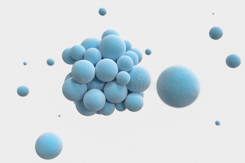 Blauwe gebieden met de geweven oppervlakte, het willekeurige verdeelde, 3d teruggeven stock illustratie