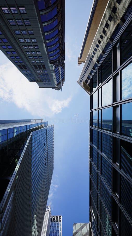 Blauwe gebouwen in Hongkong stock foto