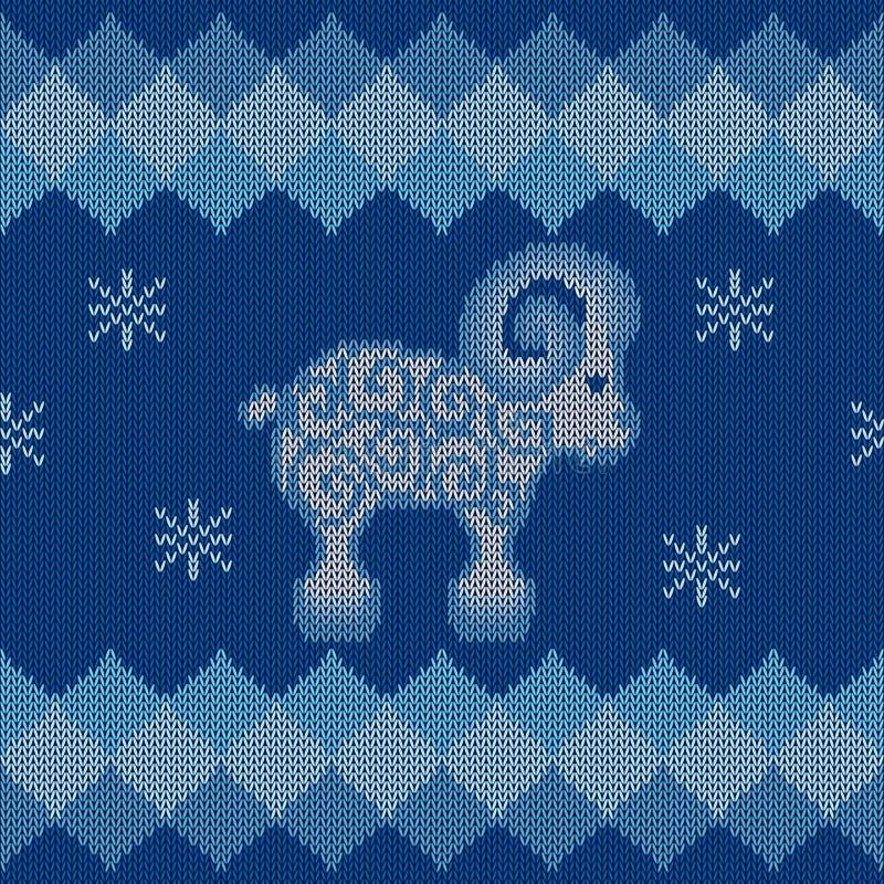 Blauwe gebreide achtergrond met schapen royalty-vrije illustratie