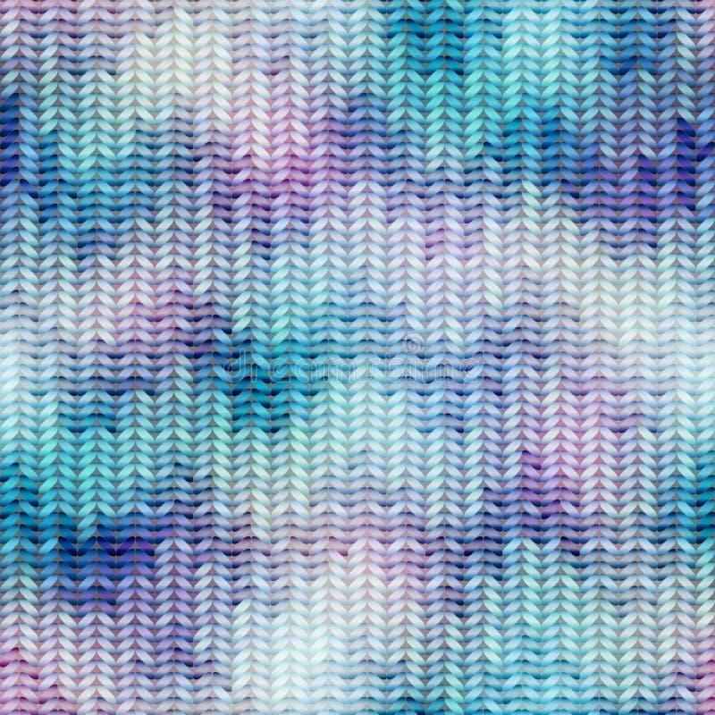 Blauwe gebreide textuur met chevrons royalty-vrije illustratie