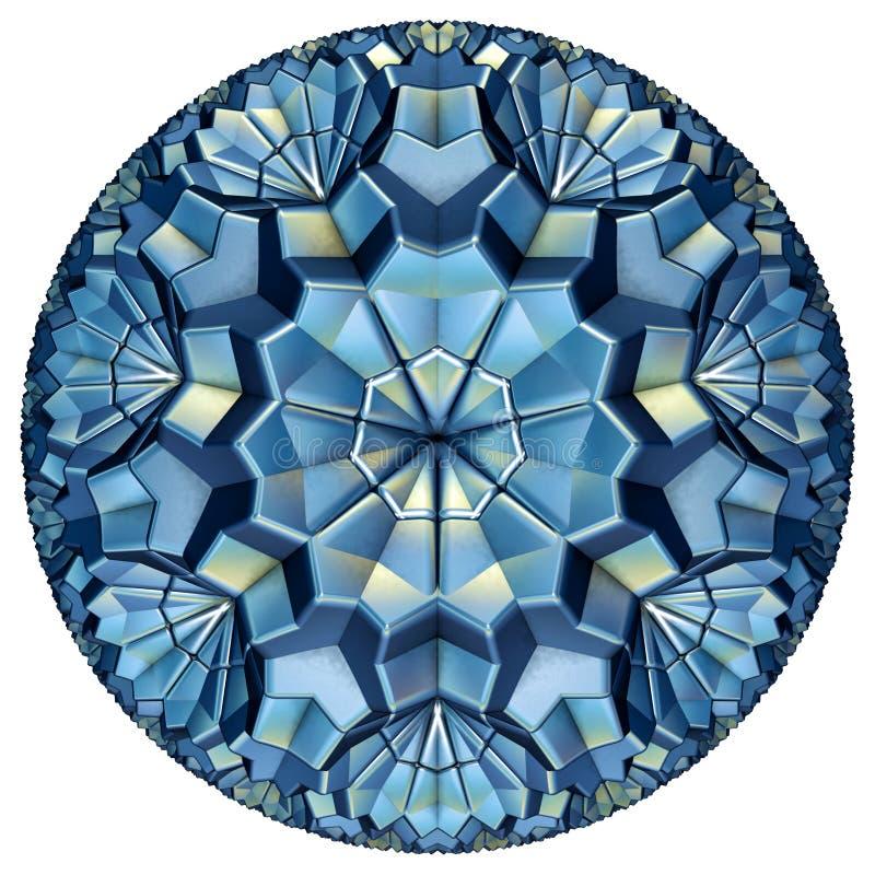 Blauwe gekleurde hyperbolische tessellation stock afbeelding