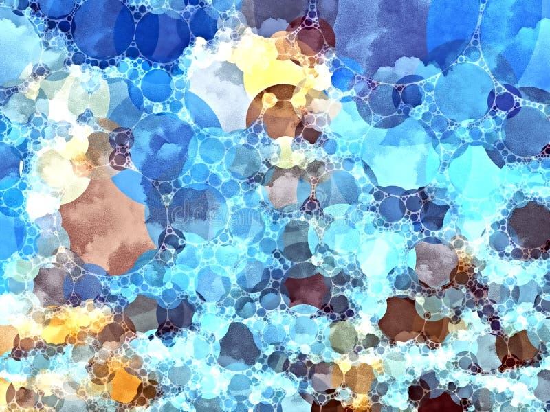 Blauwe gekleurde mozaïekachtergrond stock illustratie