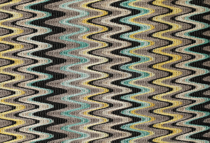 Blauwe, gele en grijze het patroonstof van golven verticale lijnen royalty-vrije stock afbeeldingen
