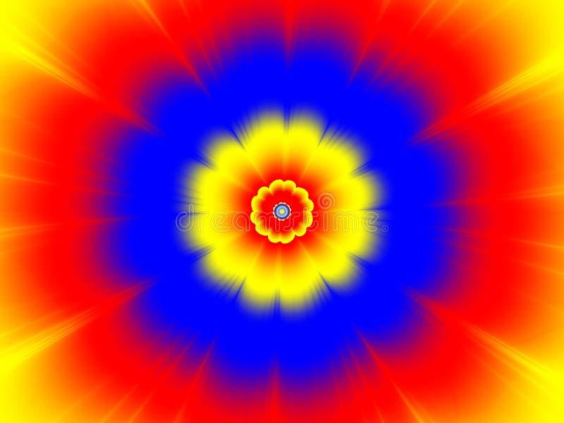 Blauwe, gele en rode bloem stock illustratie