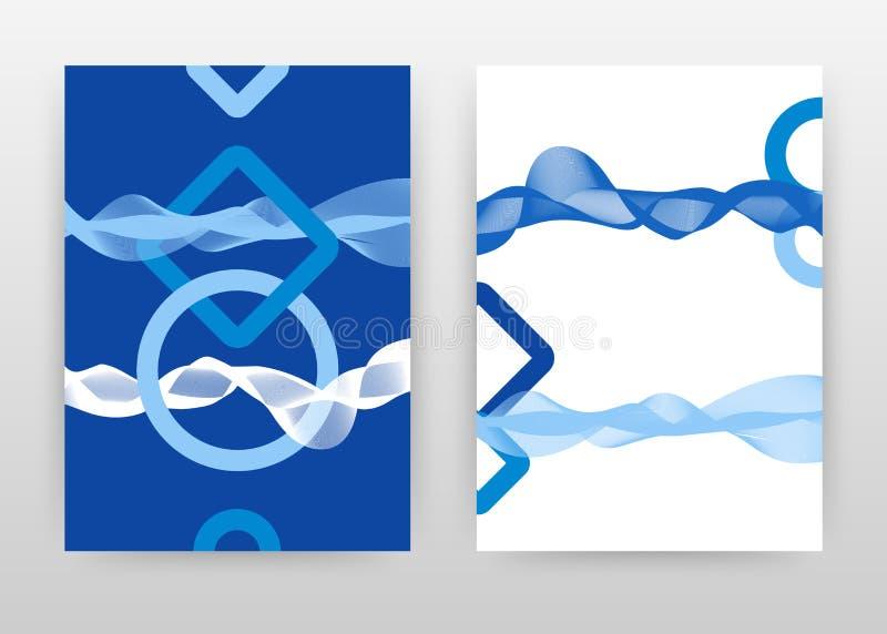 Blauwe geometrische elementen met het golven lijnenontwerp voor jaarverslag, brochure, vlieger, affiche Het golven lijnen achterg stock illustratie