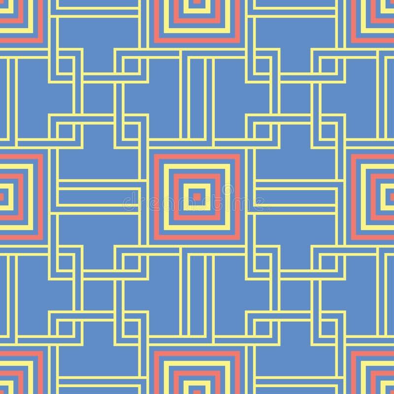 Blauwe geometrische naadloze achtergrond Helder multi gekleurd ontwerp met rood en geel patroon royalty-vrije illustratie