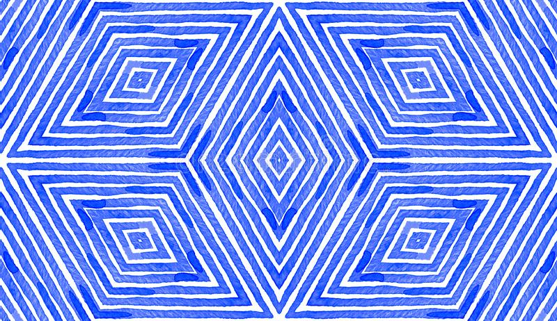 Blauwe geometrische waterkleur Cute Seamless Pattern vector illustratie