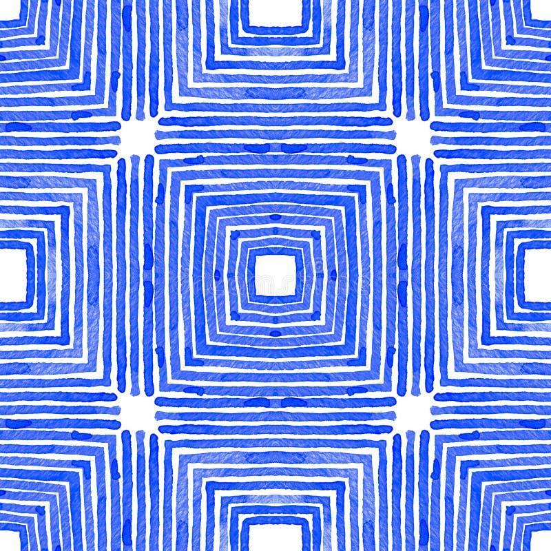 Blauwe Geometrische Waterverf Leuk naadloos patroon stock illustratie
