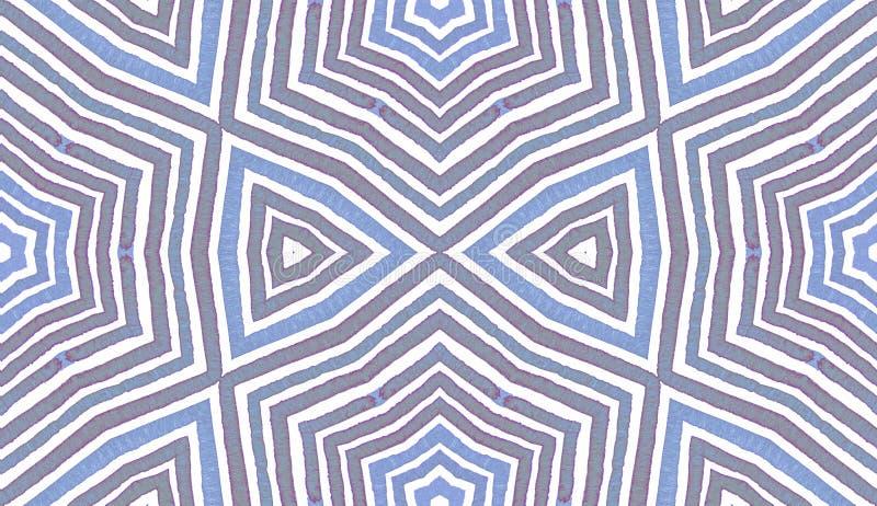 Blauwe Geometrische Waterverf Leuk naadloos patroon Hand getrokken strepen Borsteltextuur Elegante Chevron stock illustratie