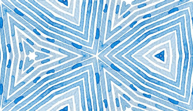 Blauwe Geometrische Waterverf Nieuwsgierig Naadloos Geklets stock illustratie