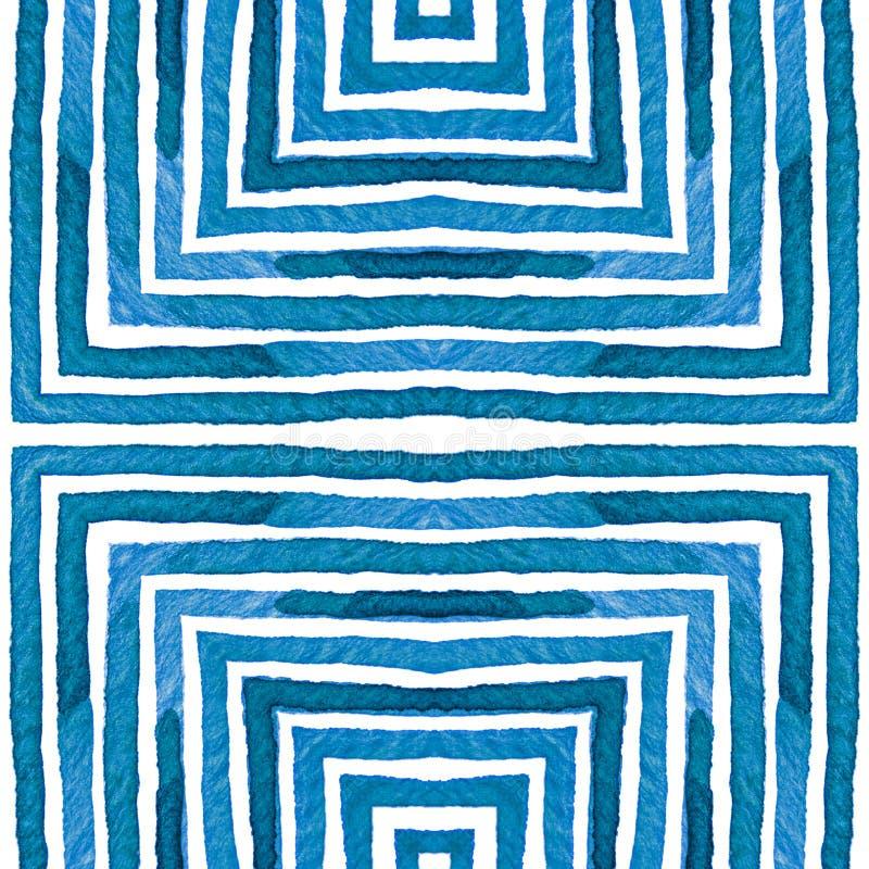 Blauwe Geometrische Waterverf Nieuwsgierig Naadloos Geklets royalty-vrije illustratie