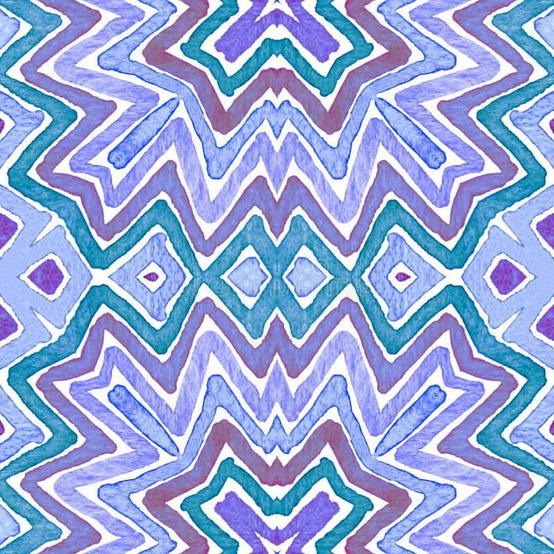 Blauwe Geometrische Waterverf Nieuwsgierig Naadloos Patroon Hand getrokken strepen Borsteltextuur overwhelming royalty-vrije stock foto