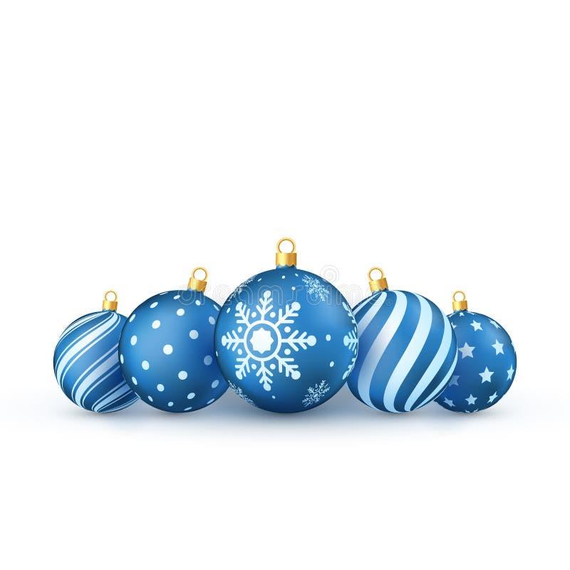 Blauwe geplaatste Kerstmisballen De boomspeelgoed van het vakantie Decoratief Nieuwjaar Vector illustratie die op witte achtergro royalty-vrije illustratie