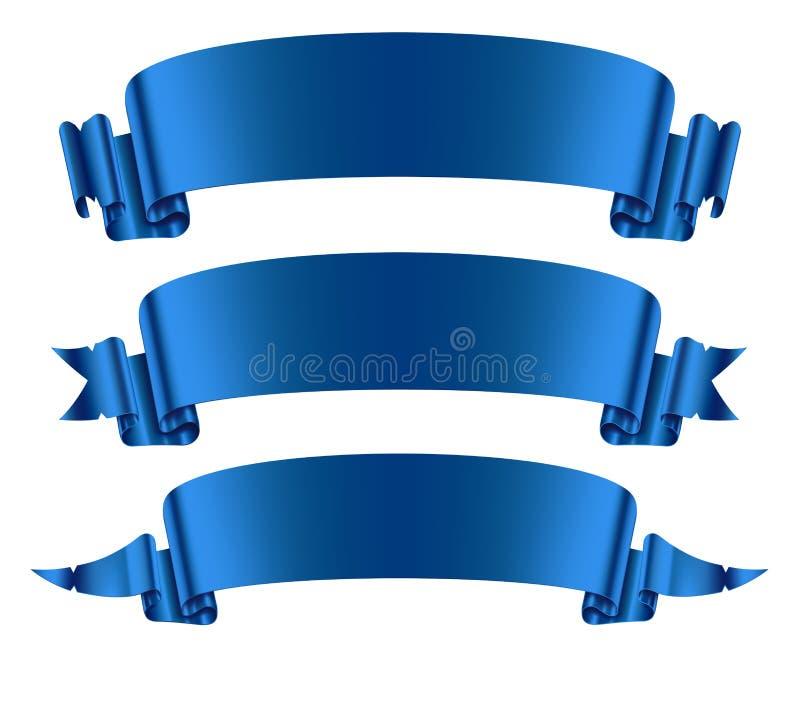 Blauwe geplaatste lintenbanners royalty-vrije illustratie