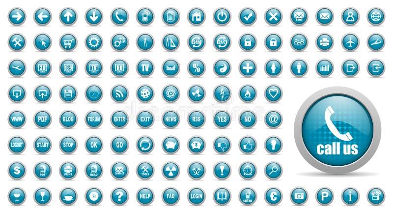 Blauwe geplaatste Webpictogrammen royalty-vrije illustratie