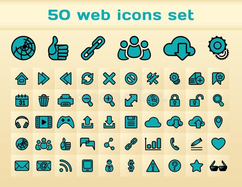 50 blauwe geplaatste Webpictogrammen royalty-vrije illustratie