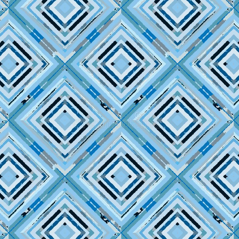Blauwe geschilderde diamanten in een het herhalen naadloos patroon vector illustratie