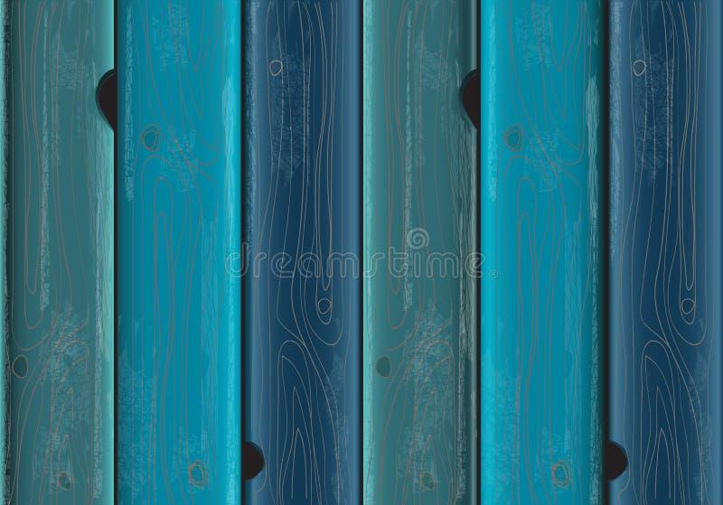 Blauwe geschilderde houten textuur als achtergrond stock illustratie