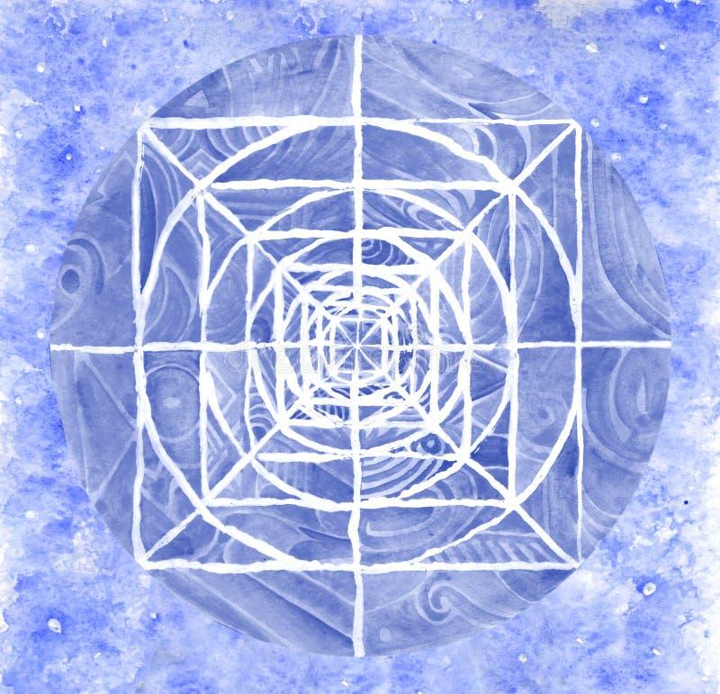 Blauwe geschilderde mandala stock illustratie