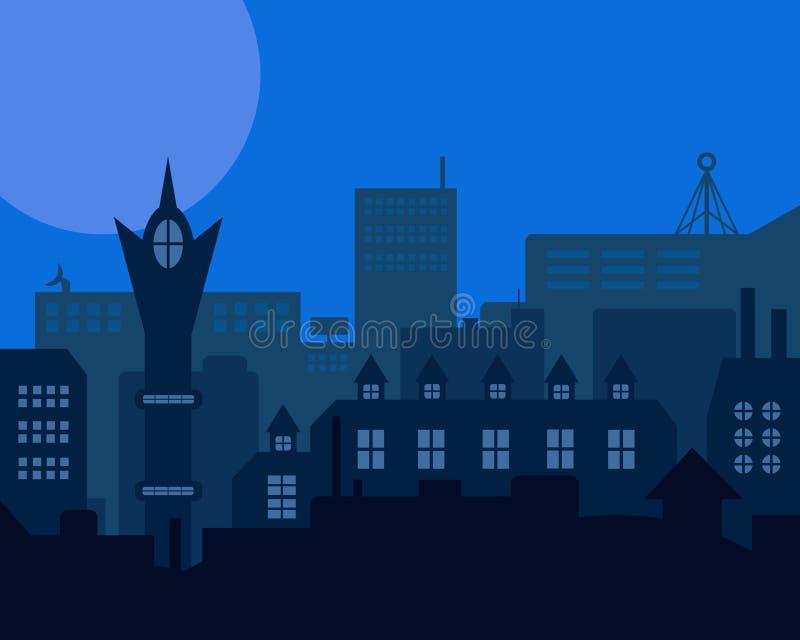 Blauwe gestileerde uitstekende landschap van de nacht het industriële Europese stad vector illustratie