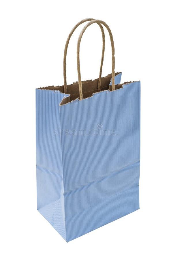 Blauwe gestreepte het winkelen zak royalty-vrije stock fotografie