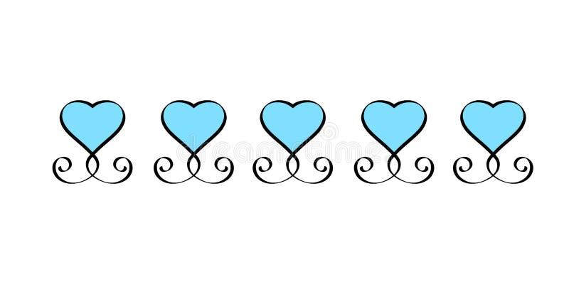 Blauwe getrokken het tekenreeks van de Hartliefde Hand Romantische uitstekende de kalligrafie vectorillustratie van de harteninza royalty-vrije illustratie