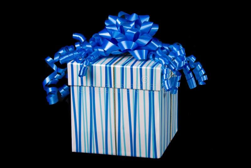 Blauwe giftdoos en heden royalty-vrije stock foto