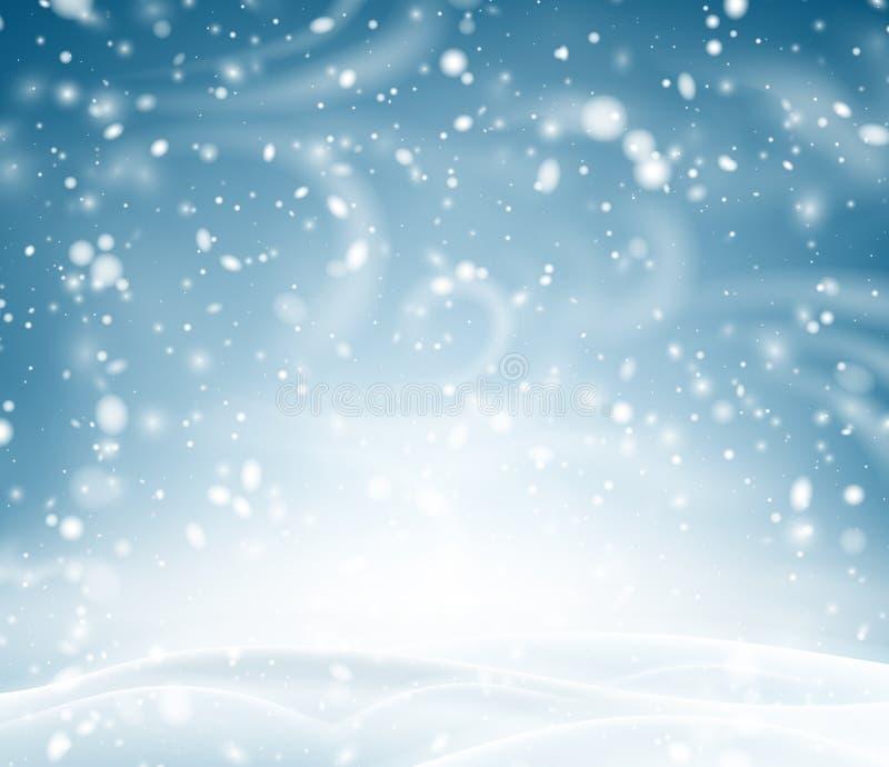 Blauwe glanzende achtergrond met de winterlandschap, sneeuw en blizzard royalty-vrije illustratie