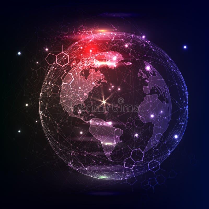 Blauwe glanzende baan De quantumfysica Lichte Deeltjes Vector illustratie Nieuwe technologieën vector illustratie
