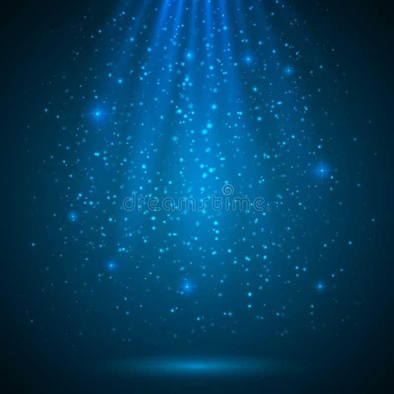 Blauwe glanzende magische lichte vectorachtergrond stock illustratie